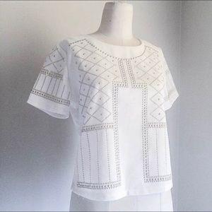 Tops - Pretty Vintage Gold Studded White Festival Top